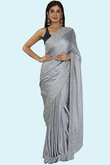 Picture of Grey Color  Satin Silk Designer Saree