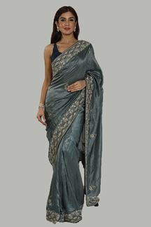 Picture of Sophisticated Grey Colored Silk Saree