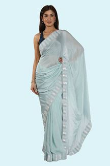 Picture of Surpassing Sky Blue Colored Crepe Silk Saree