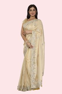 Picture of Demanding Golden Colored Partywear Embroidered Tissue Silk Saree