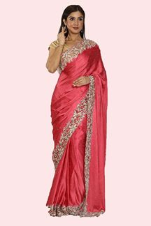 Picture of Pink Color Satin Silk Saree With Blouse