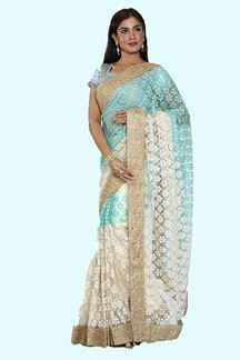 Picture of Gorgeous Shaded Blue- White Colored Net Saree