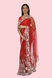 Picture of Lovely Red Colored Party Wear Net Saree