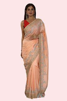 Picture of Alluring Peach Colored Dolla Silk Saree