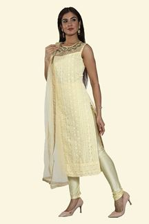 Picture of Lemon Yellow Color Churidar Suit