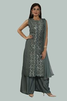 Picture of Alluring Steel Grey Colored Palazzo Suit