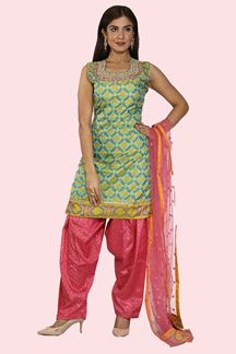 Picture of Sophisticated Green Colored Patola Print Patiala Suit