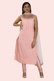 Picture of Peach Color Georgette Churidar Suit