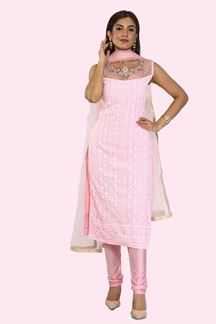 Picture of Pink Color Georgette Designer Churidar Suit