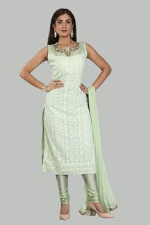Picture of Pista Green Color  Designer Georgette Churidar Suit