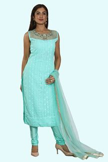 Picture of Sea Blue Color Designer Georgette Churidar Suit
