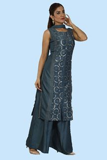 Picture of Trendy Blue Colored Embroidered  Palazzo Suit