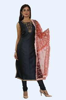 Picture of Navy Blue Color Designer Churidar Suit