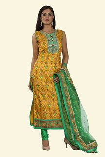 Picture of Yellow & Green Color Patola Print Churidar Suit