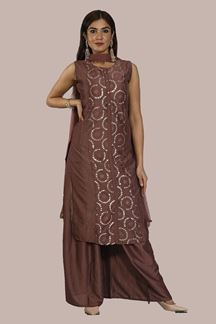 Picture of Trendy Brown Colored Embroidered  Palazzo Suit