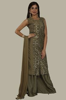 Picture of Ideal Mehendi Green Colored Party Wear Churidar Suit