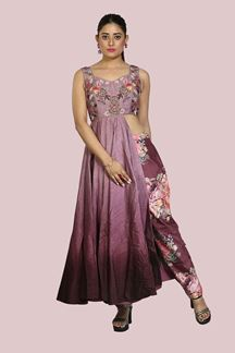 Picture of Purple Color Art Silk Pant Style Suit