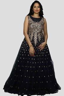Picture of Navy Blue Color Heavy Net Embroidered Work Gown