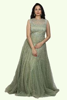 Picture of Pista Green Color Wedding Reception Diamond Work Gown