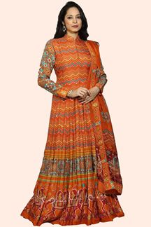 Picture of Orange Color Patola Print Designer Gown