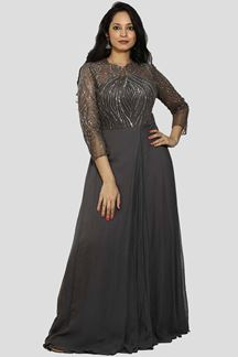 Picture of Grey Color Designer Georgette Gown