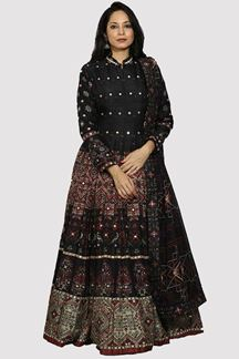 Picture of Black Color Patola Print Anarkali Gown