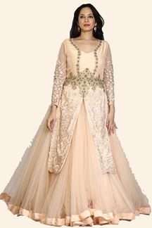 Picture of Gleaming Peach Colored Party Wear Net & Silk Gown