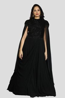 Picture of Energetic Black Colored Party Wear Embroidered Georgette Gown