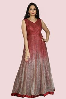 Picture of Designer Party wear Maroon Color Net Glitter Gown