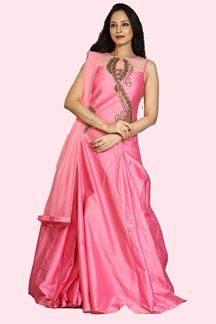 Picture of Fantastic Pink Colored Partywear Taffeta Silk Gown