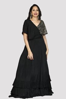 Picture of Prominent Black Colored Partywear Crepe Georgette Gown