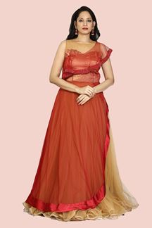 Picture of Exclusive Beige & Maroon Color Net Gown For Wedding