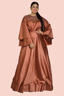 Picture of Designer Rust Color Floor Length Gown