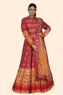 Picture of Pink Color Floor Length Patola Print Gown