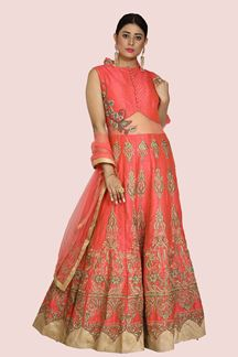 Picture of Designer Coral Pink Color Gown