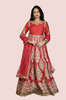 Picture of Coral Pink Color Bridal Designer Gown