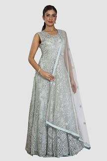 Picture of Ravishing Sky Blue Colored Partywear Designer Net Gown