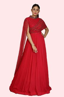 Picture of Flirty Rani Pink Colored Party Wear Georgette Gown