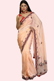 Picture of Peach &Red Color Dolla Silk Embroidery Saree