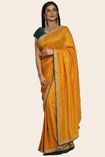 Picture of Yellow & Green Color Dolla Silk Embroidery Saree