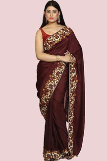 Picture of Maroon Colored Partywear Embroidered Dolla Silk Saree