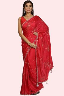 Picture of Glorious Pink Colored Embroidered Dolla Silk Saree