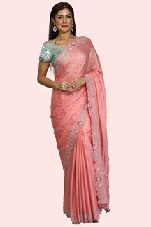 Picture of Alluring Pink Colored Party Wear Embroidered Saree