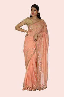 Picture of Organza Peach Color Designer Saree