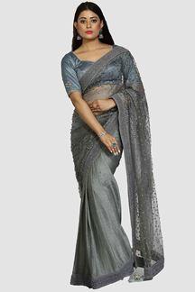 Picture of Desirable Grey Colored Half-Half Saree
