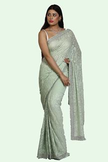 Picture of Pista Green Color Georgette Lucknowi Work Saree