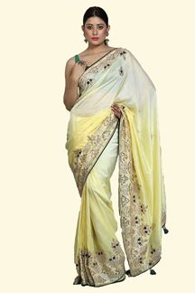 Picture of Refreshing Lemon Yellow Colored Partywear Embroidered Dolla Silk Saree