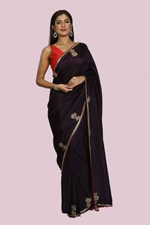 Picture of Pleasant Wine Colored Party Wear Dolla Silk Saree