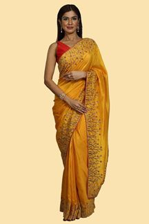 Picture of Sensational Mustard Colored Embroidered Dolla Silk Saree