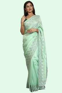 Picture of Refreshing Pista Green Colored Partywear Embroidered Saree